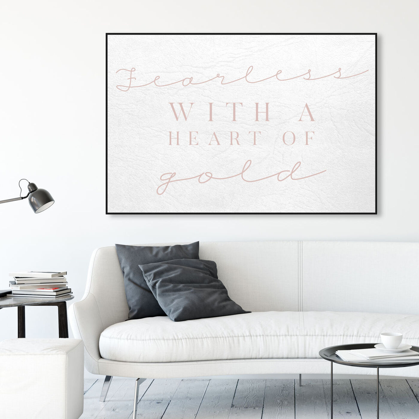 Hanging view of Fearless Blush featuring typography and quotes and love quotes and sayings art.