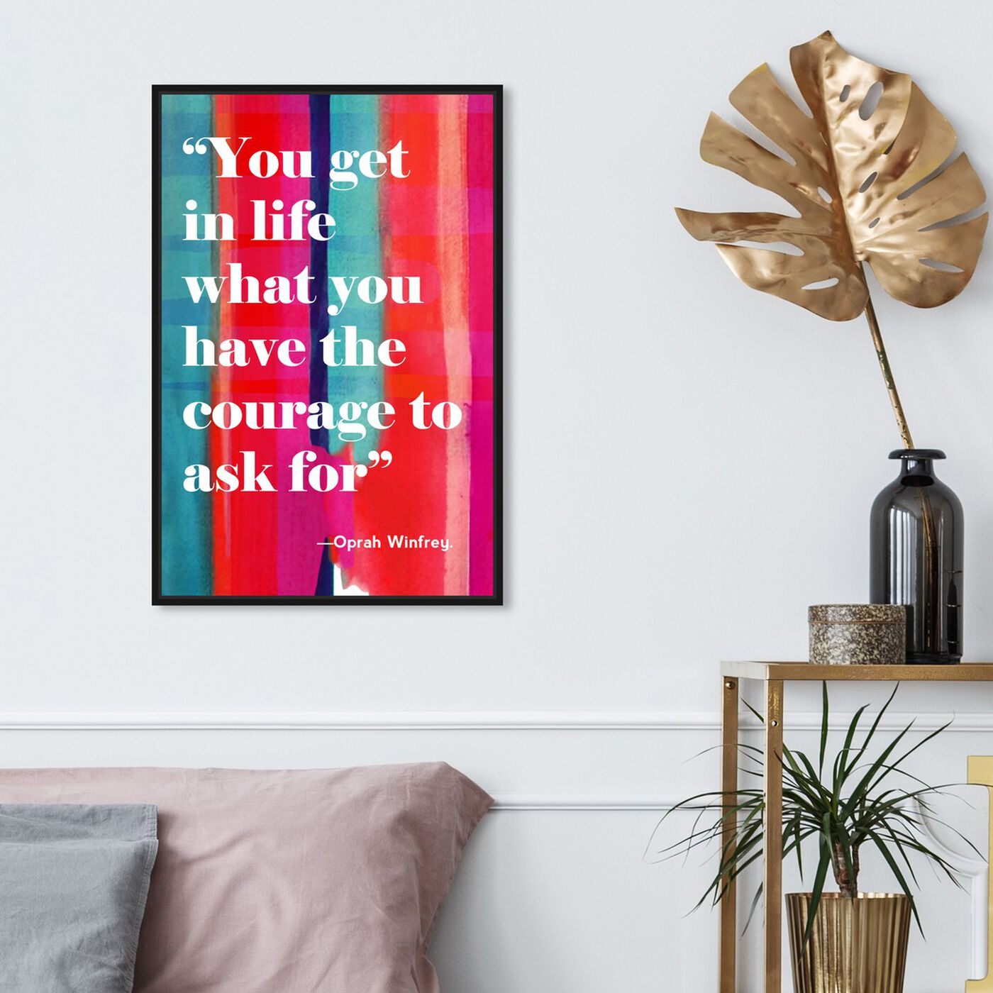 Hanging view of Courage in Life featuring typography and quotes and inspirational quotes and sayings art.