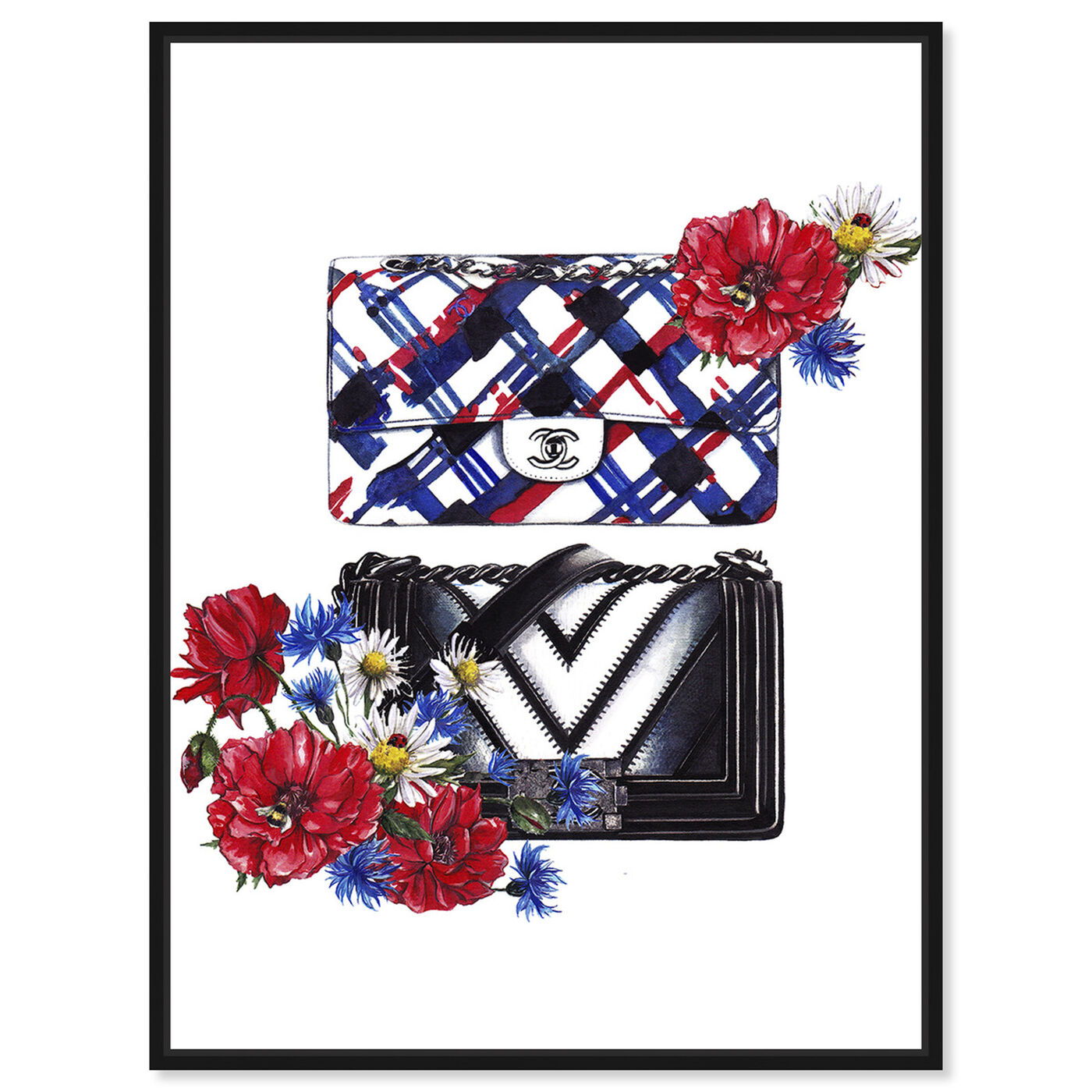 Front view of Doll Memories - Bags Floral featuring fashion and glam and handbags art.
