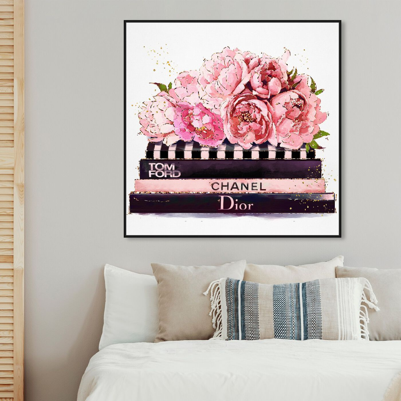 Hanging view of Haute Couture Peonies featuring fashion and glam and books art.