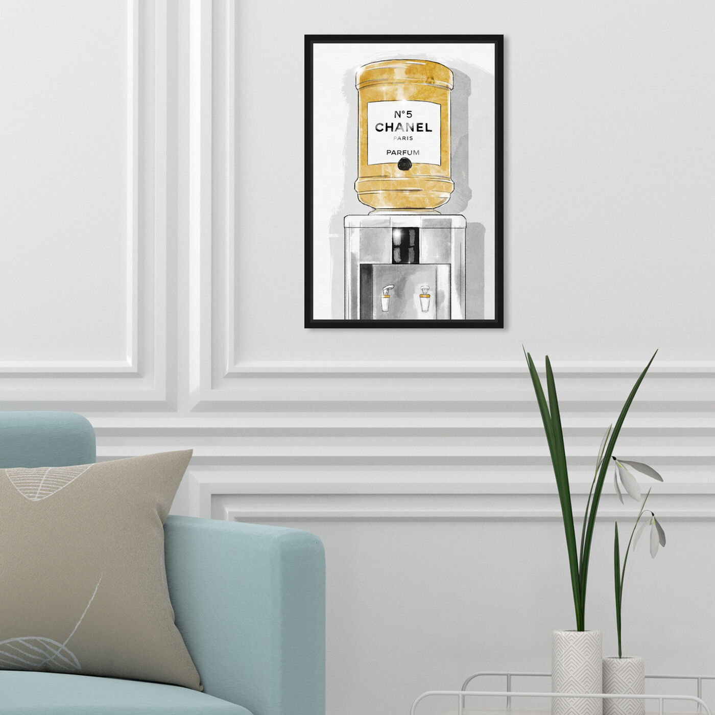 Hanging view of Classic Number 5 Watercooler featuring fashion and glam and perfumes art.