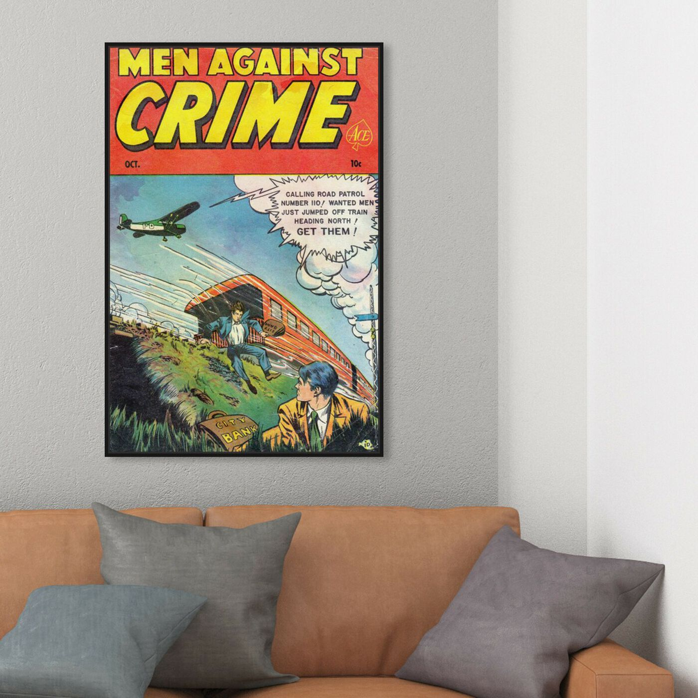 Hanging view of Men Against Crime No.7, 1951 featuring advertising and comics art.