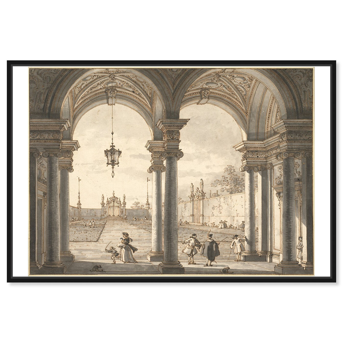 Front view of Canaletto - View Through a Baroque Colonnade featuring classic and figurative and classic art.