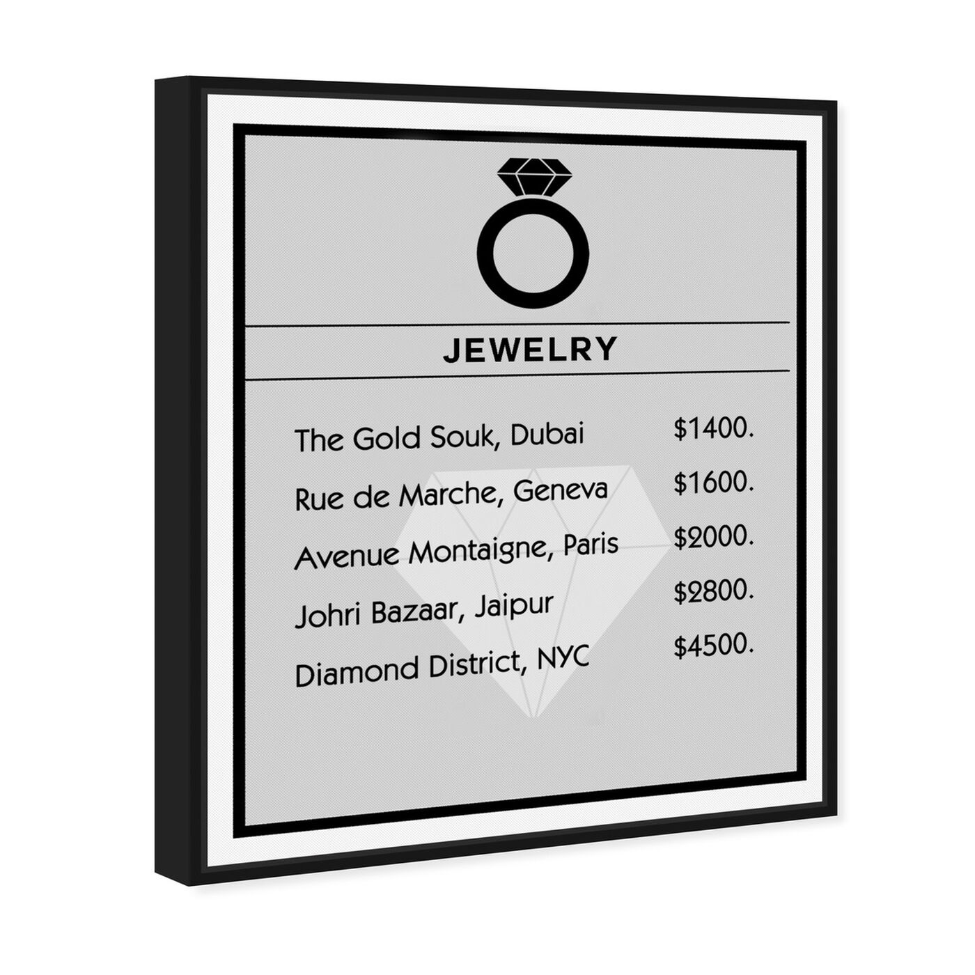 Angled view of Jewelry Card featuring entertainment and hobbies and jewelry art.