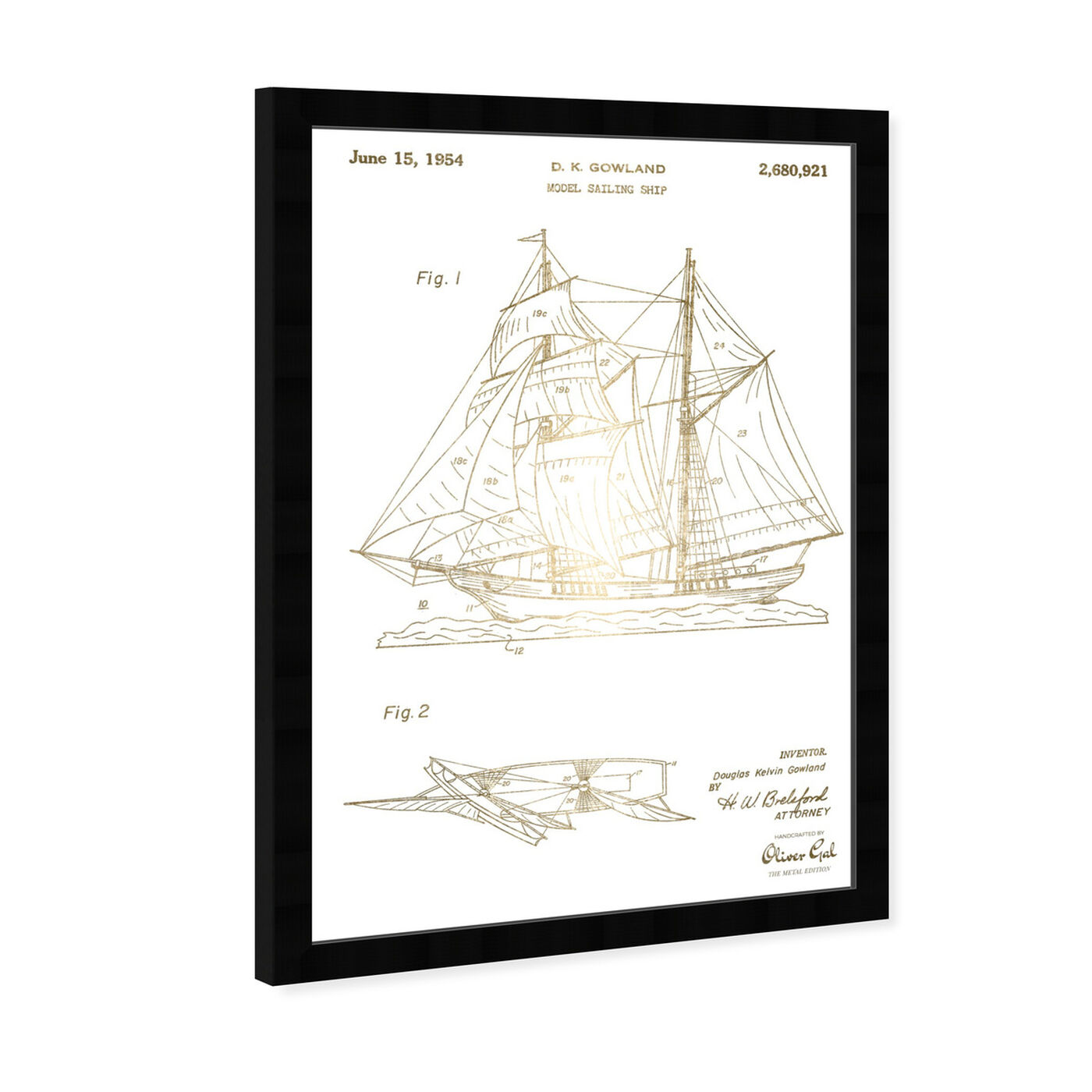Angled view of Model Sailing Ship 1954 I featuring transportation and boats and yachts art.