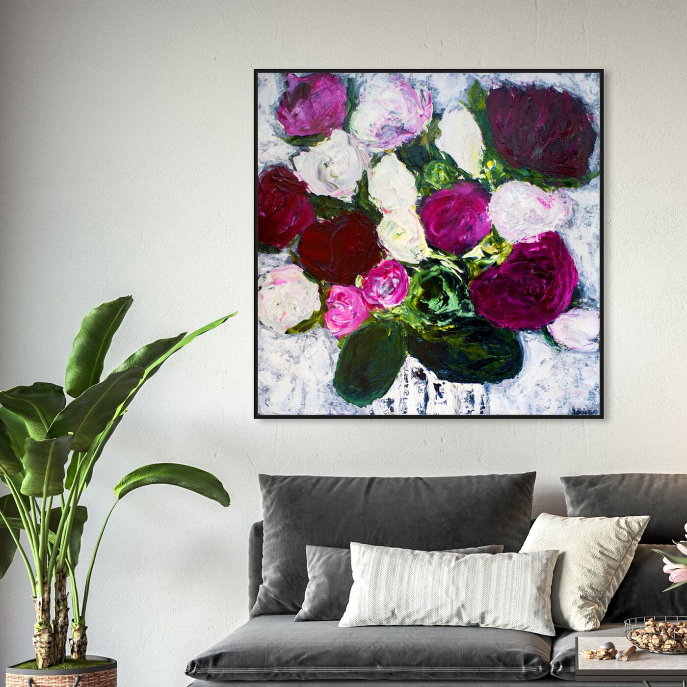 Hanging view of A New Romance by Claire Sower featuring floral and botanical and florals art.