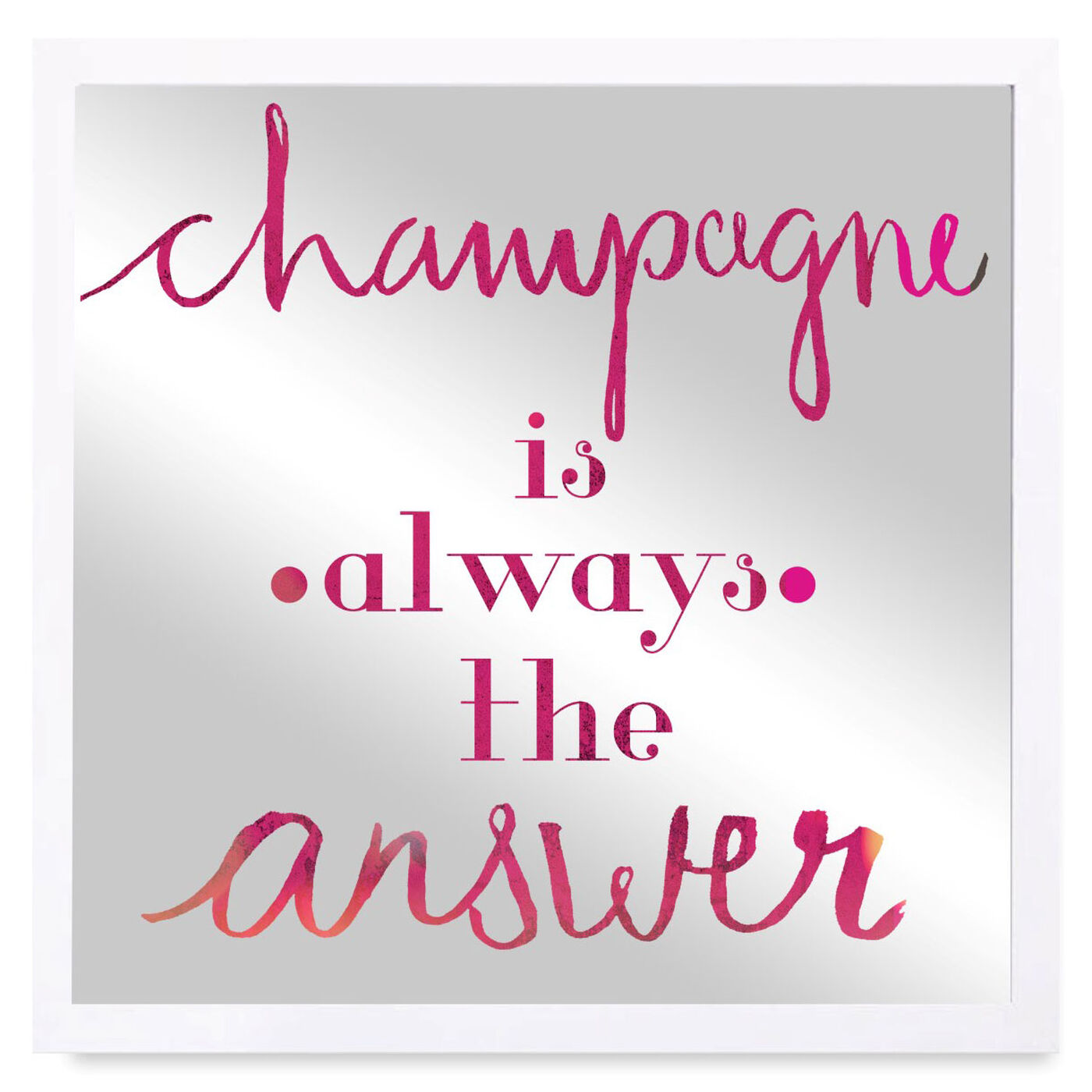 Front view of Champagne is the Answer featuring typography and quotes and funny quotes and sayings art.