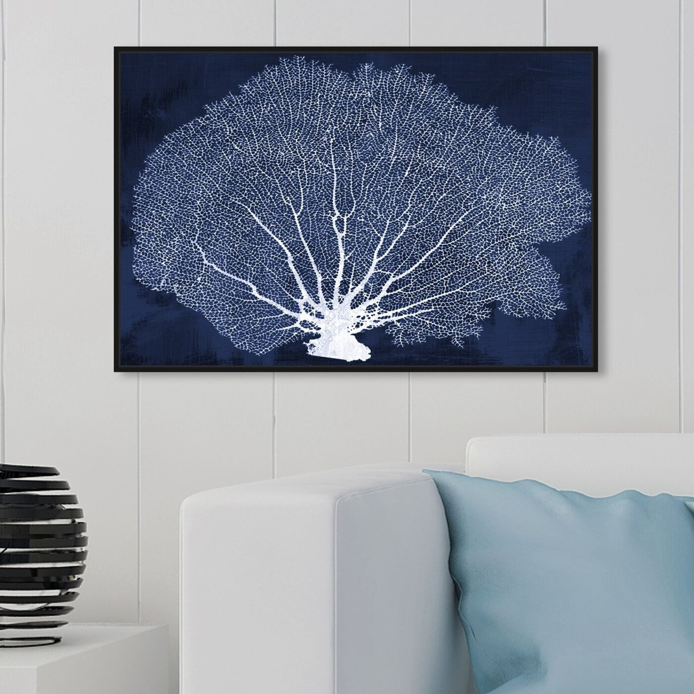 Hanging view of Coral Fan Cyanotype featuring nautical and coastal and marine life art.