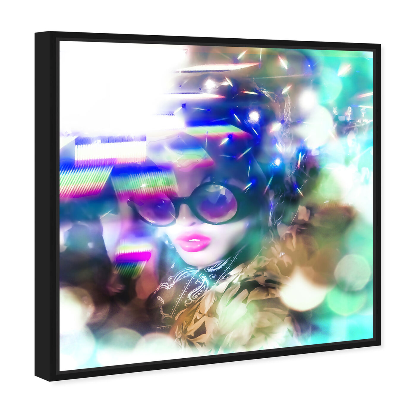 Angled view of Curro Cardenal - Neon Rave featuring fashion and glam and portraits art.