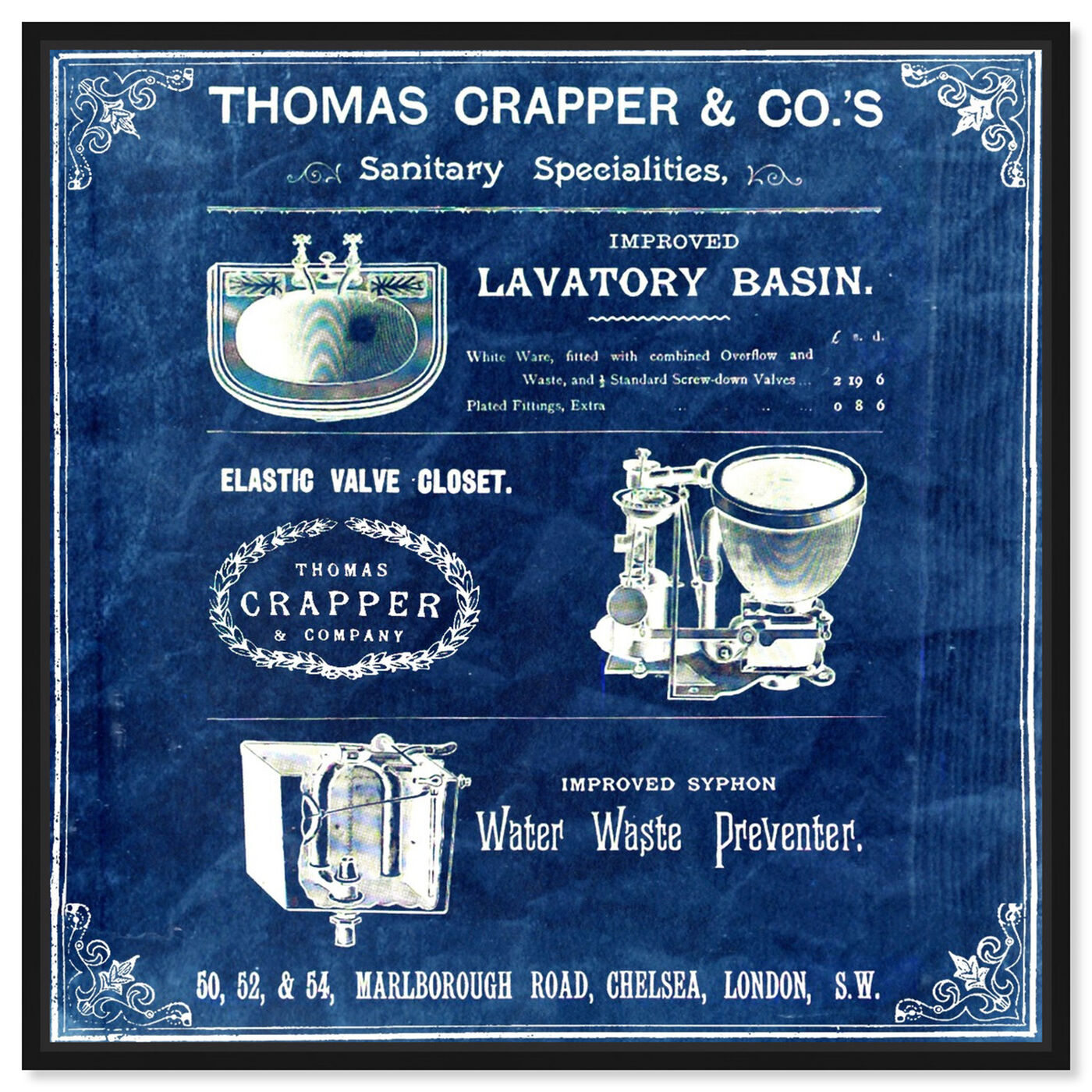 Front view of Thomas Crapper Inventor of the Toilet - Blue featuring bath and laundry and bath art.