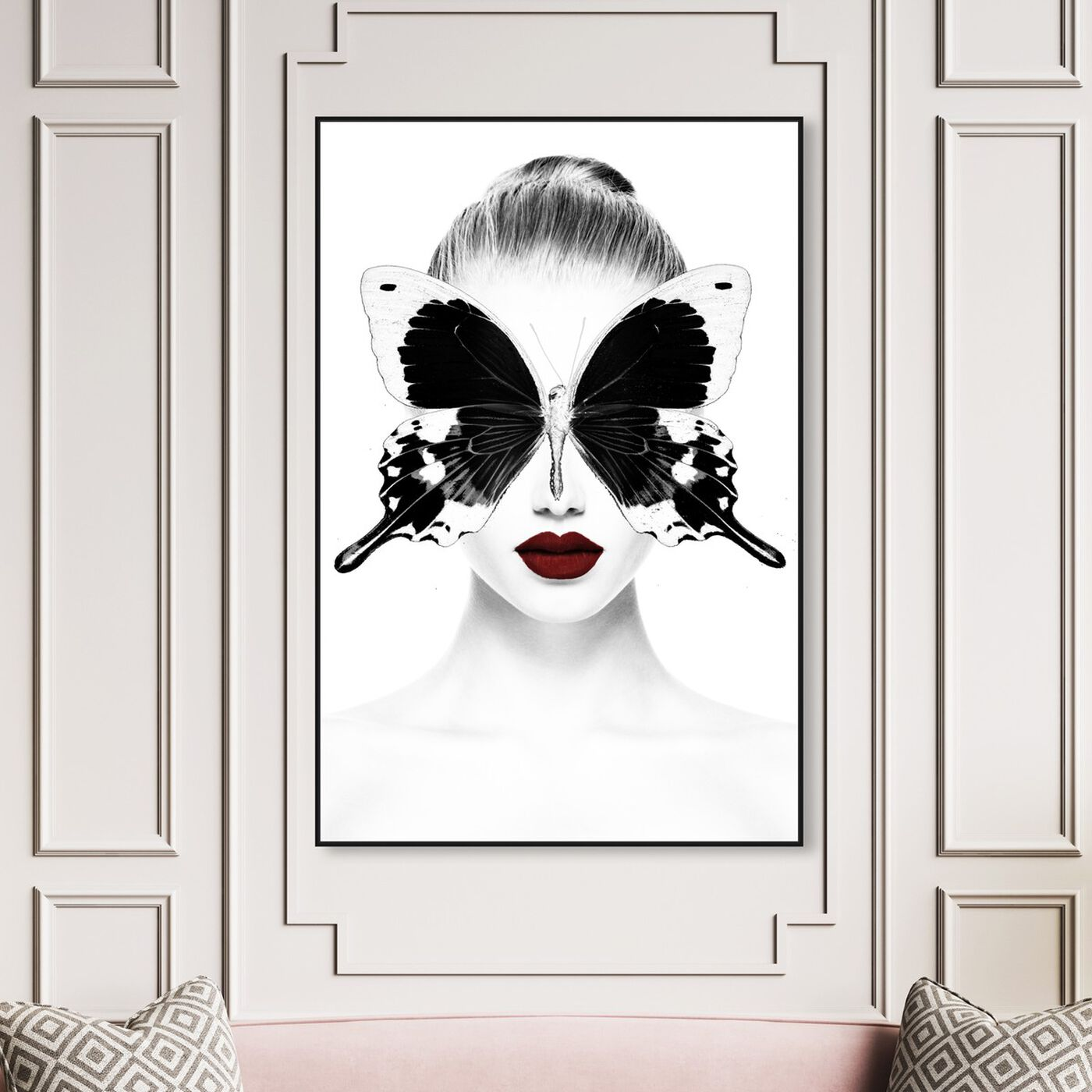 Hanging view of Red Duchess Toujours featuring fashion and glam and portraits art.