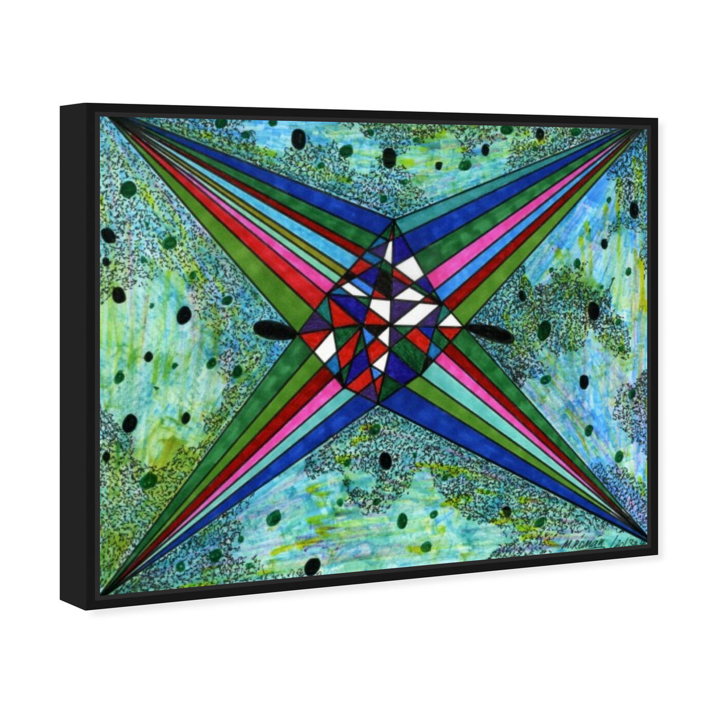 Angled view of Intergalactica featuring abstract and geometric art.