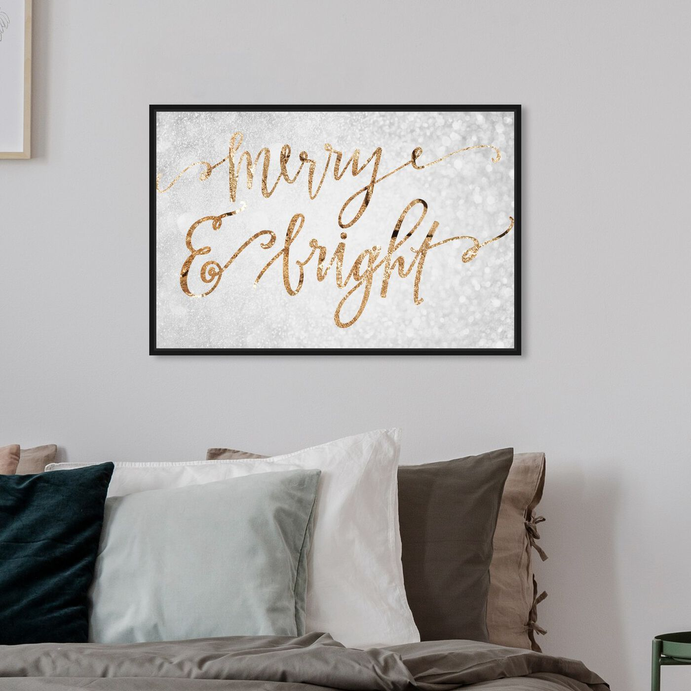 Hanging view of Merry and Bright featuring holiday and seasonal and holidays art.