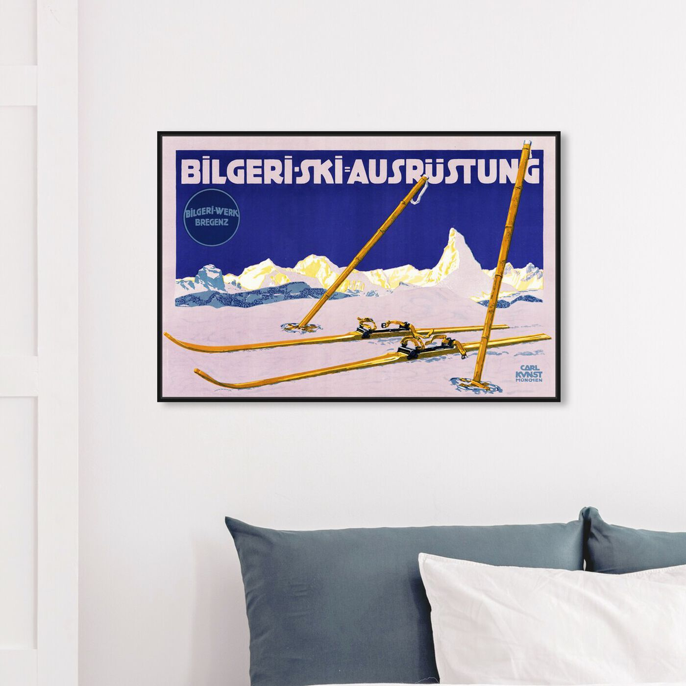 Hanging view of Bilgeri Ski featuring sports and teams and skiing art.