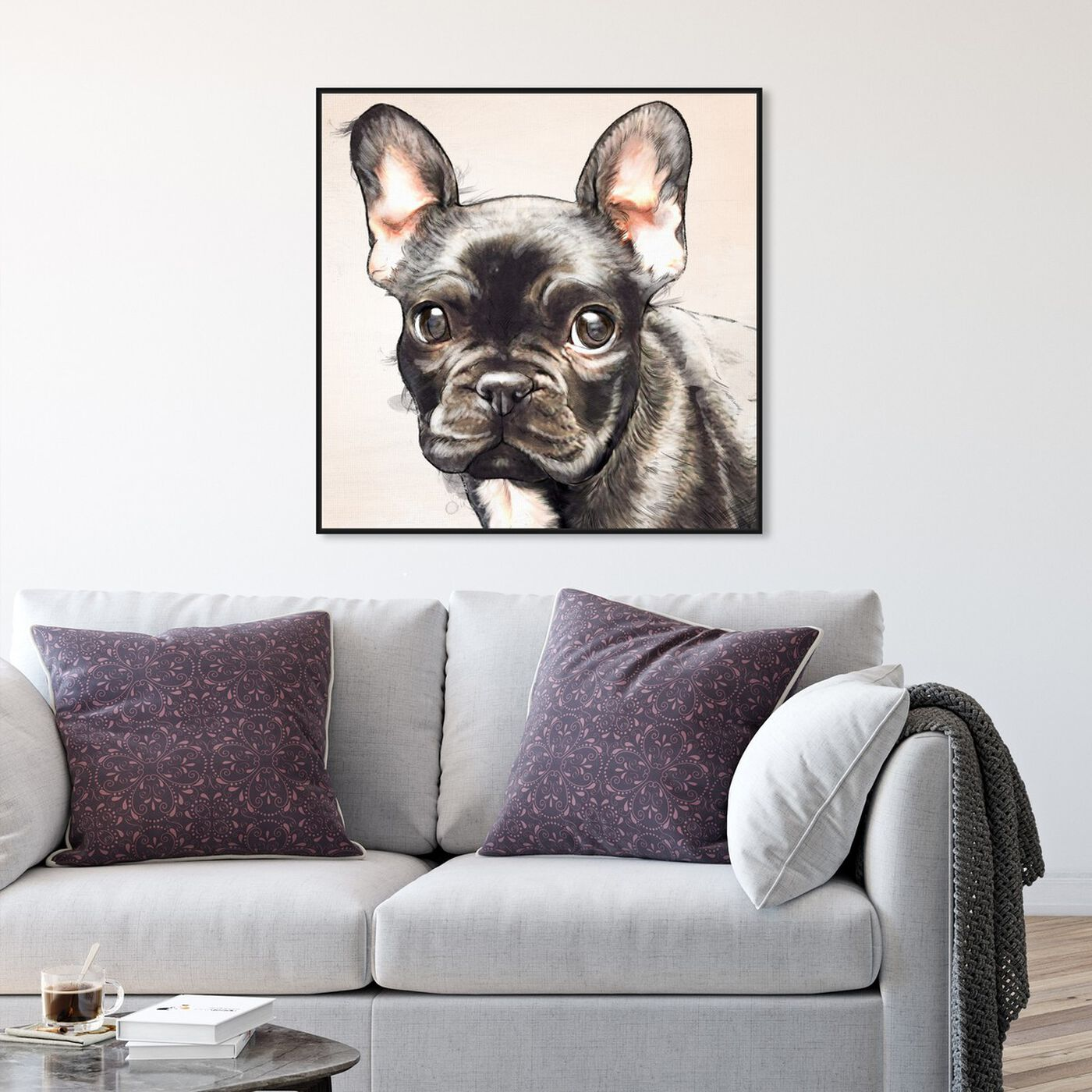 Hanging view of Frenchie Watercolor Black featuring animals and dogs and puppies art.