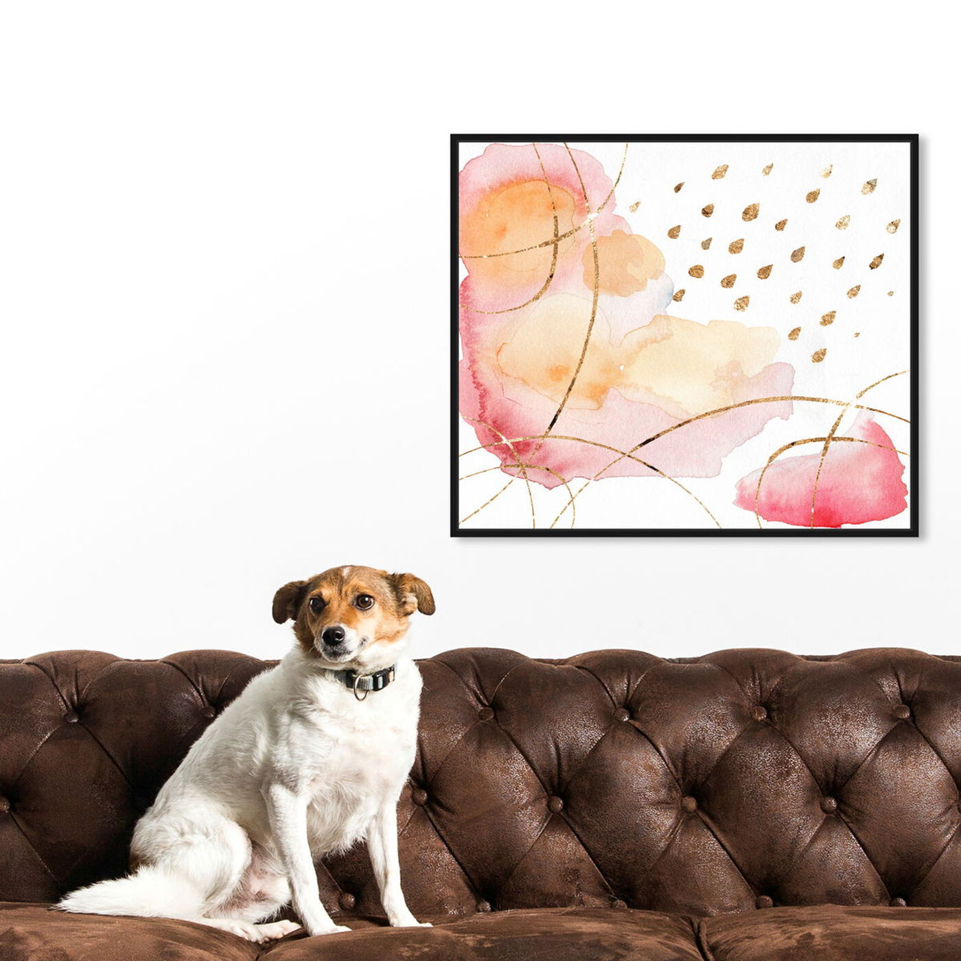 Hanging view of Rain Or Shine Coral featuring abstract and watercolor art.