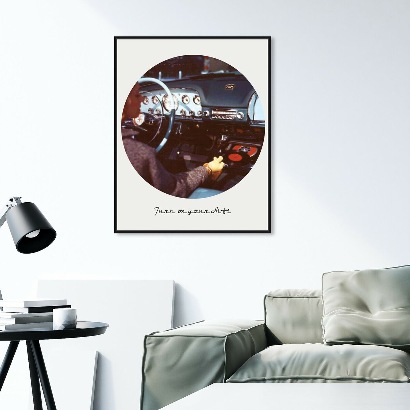 Hanging view of Turn on your HiFi featuring transportation and automobiles art.