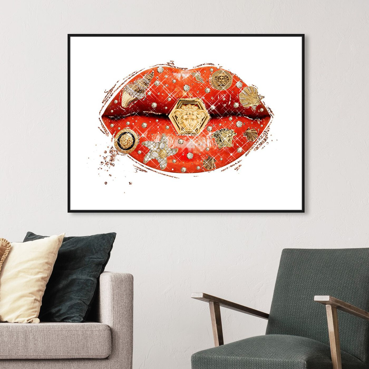 Hanging view of Gianni Coral Lips featuring fashion and glam and lips art.