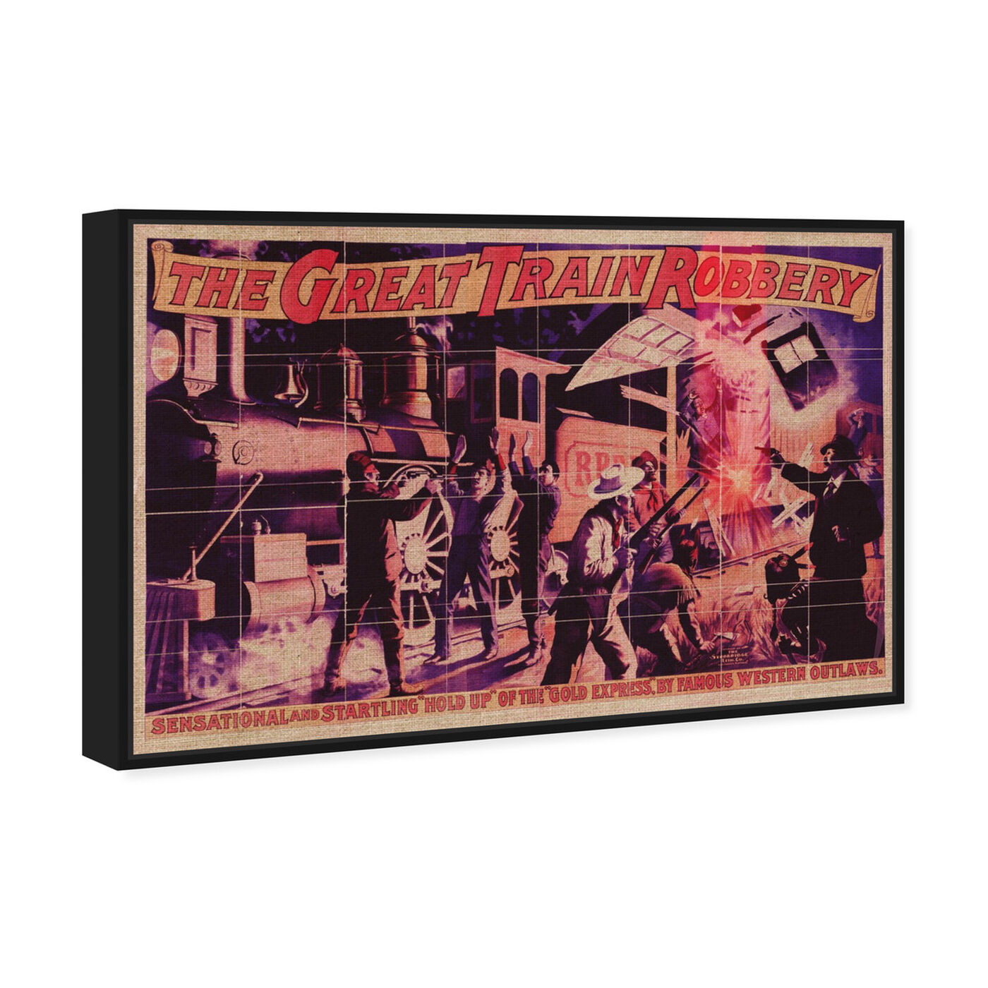 Angled view of Great Train Robbery featuring advertising and posters art.