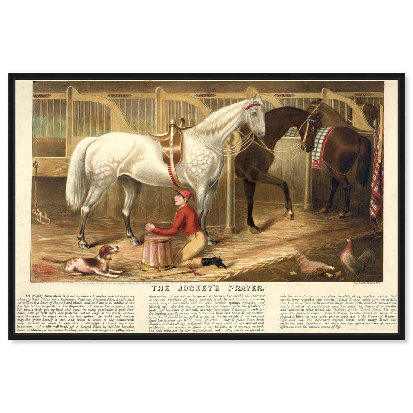 Front view of The Jockey's Prayer featuring animals and farm animals art.
