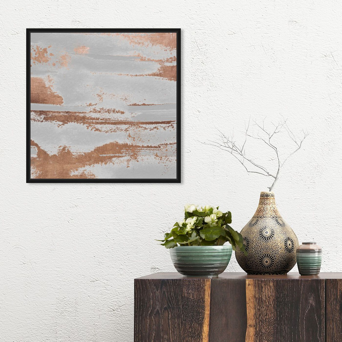 Hanging view of Copper Rain and Sunshine featuring abstract and paint art.