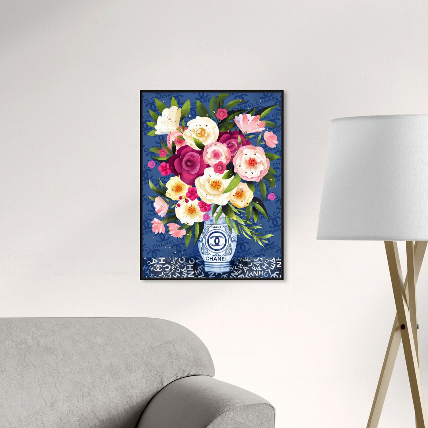 Hanging view of Coco Blues Bouquet featuring floral and botanical and florals art.