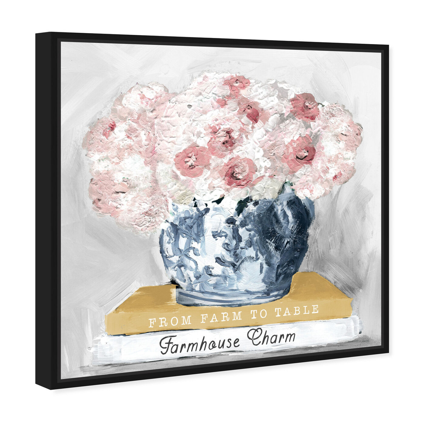 Angled view of Farm House Charm Books featuring floral and botanical and florals art.