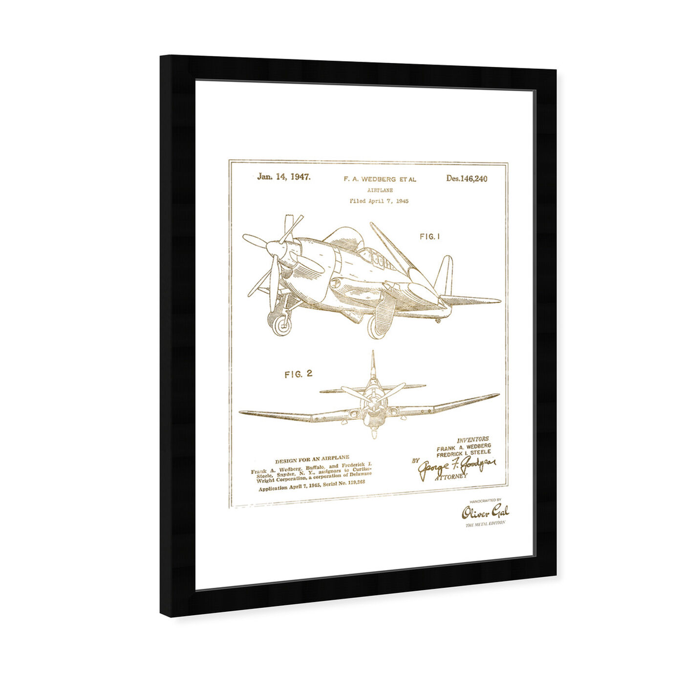 Angled view of Airplane 1947 II Gold featuring transportation and airplanes art.
