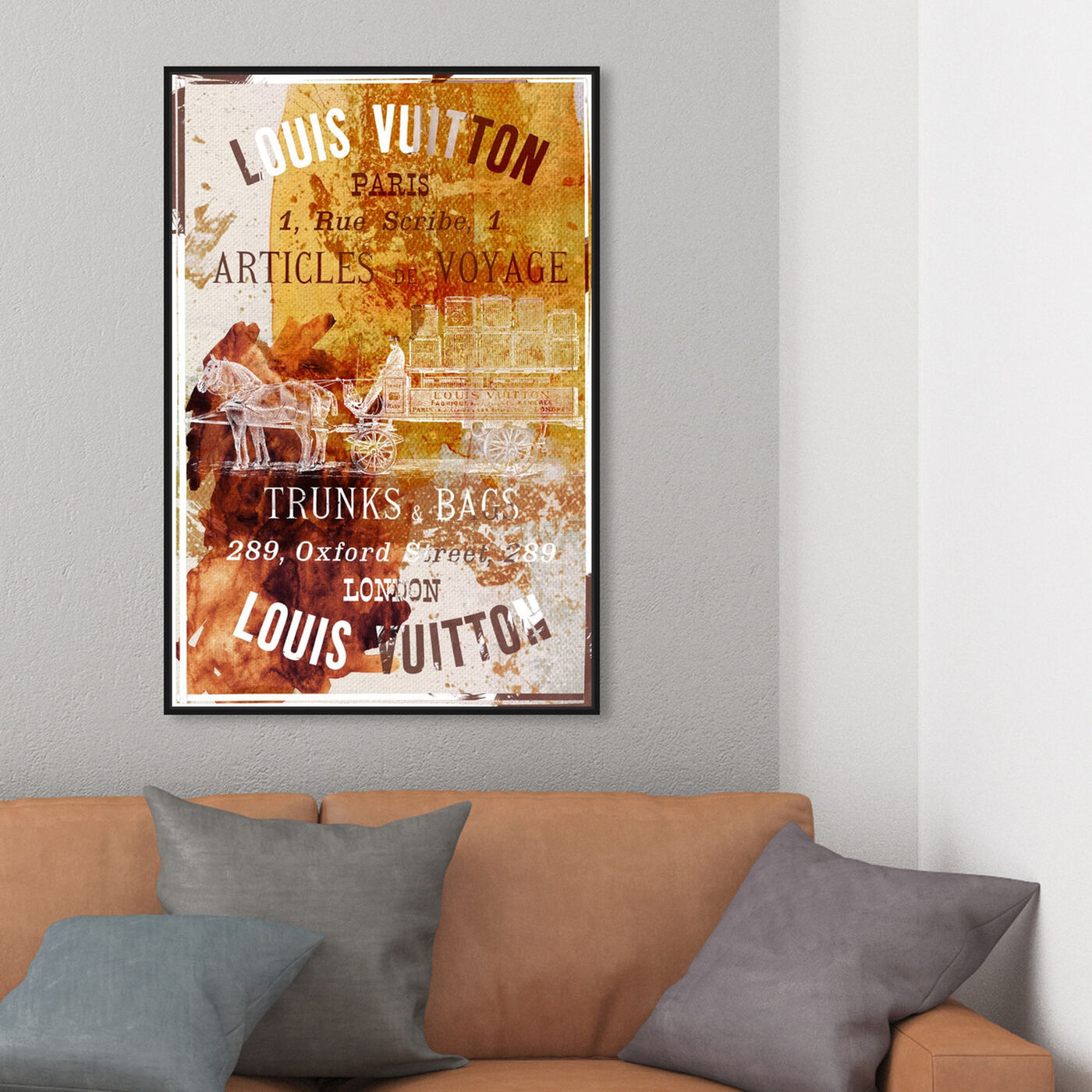 Hanging view of Articles de Voyage featuring fashion and glam and road signs art.