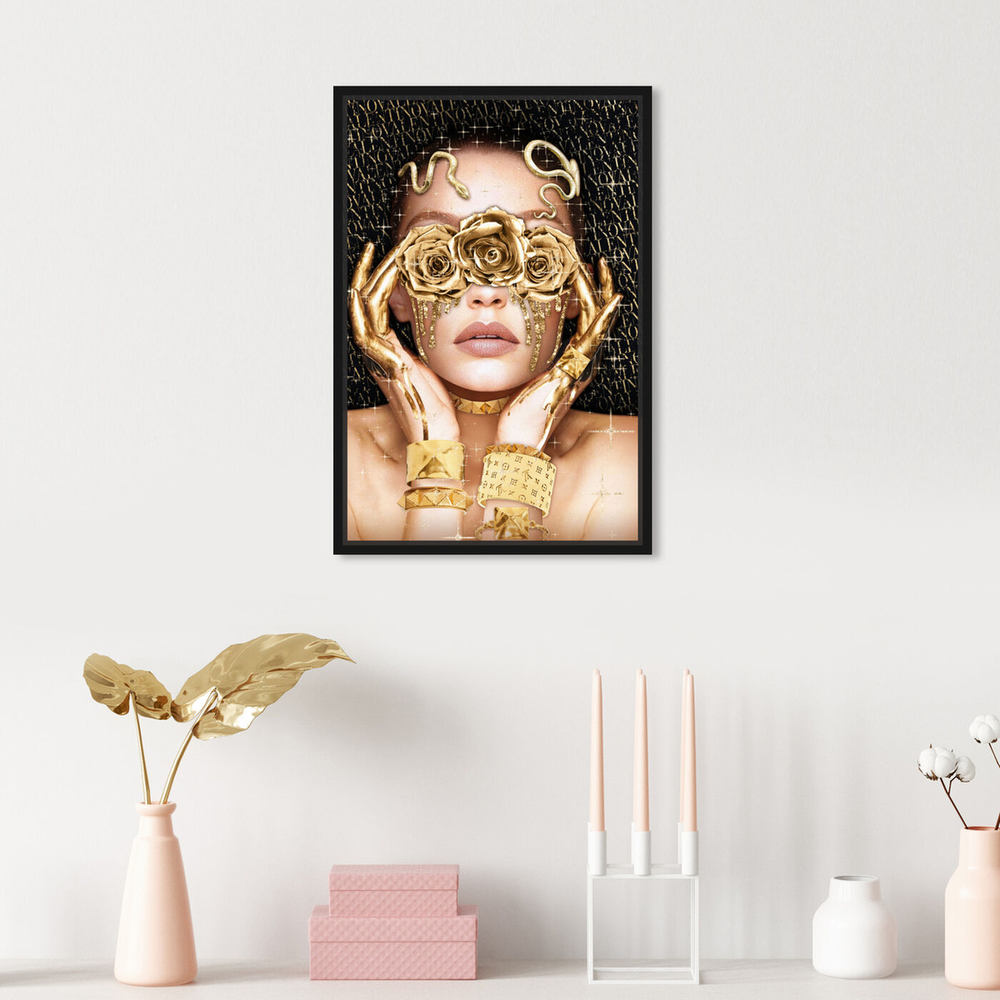 Hanging view of Golden Romantic featuring fashion and glam and portraits art.