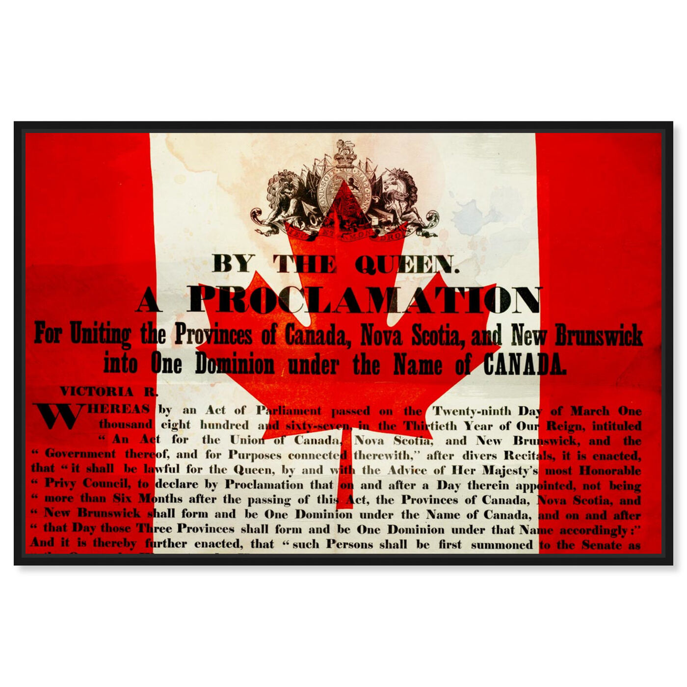 Front view of Proclamation of Canada featuring world and countries and north american cultures art.