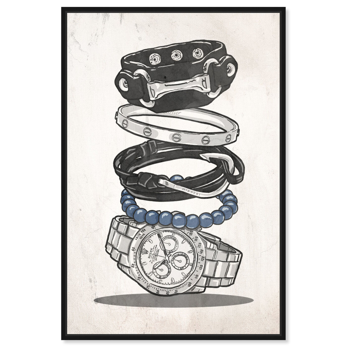 Front view of Gentleman Arm Candy featuring fashion and glam and accessories art.
