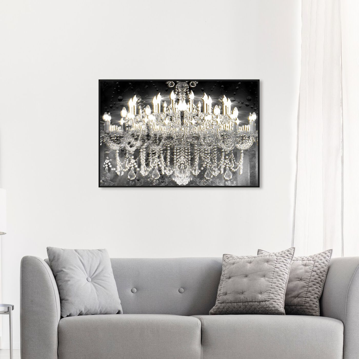 Hanging view of Black and Gold Diamond Entrance featuring fashion and glam and chandeliers art.