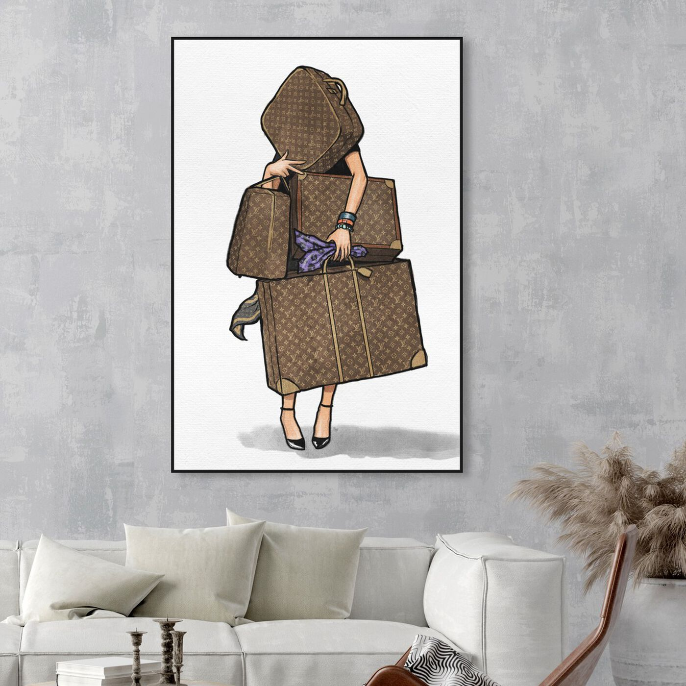 Hanging view of Bags, Bags, Bags- Purple featuring fashion and glam and travel essentials art.