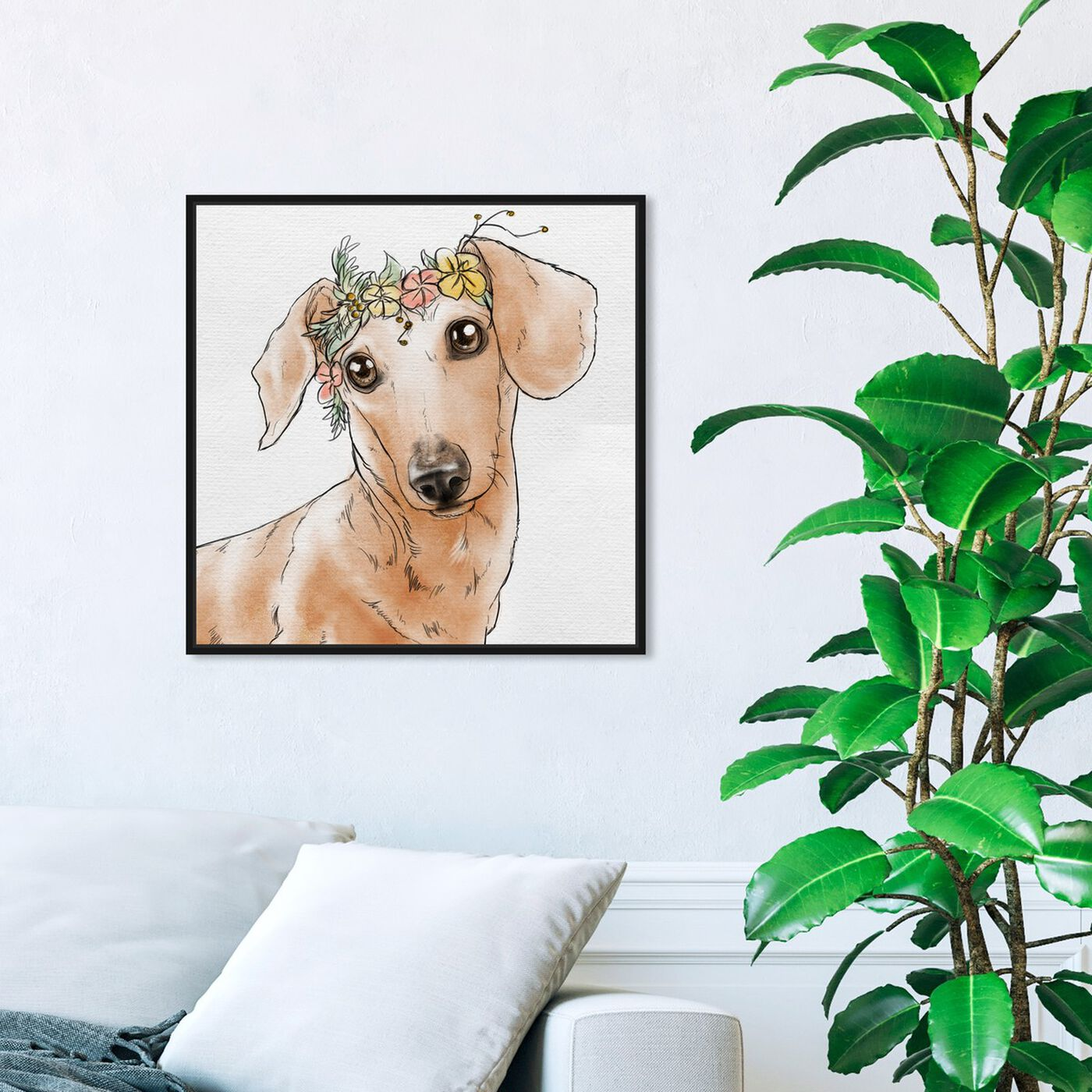 Hanging view of Floral Crown Dachshund featuring animals and dogs and puppies art.