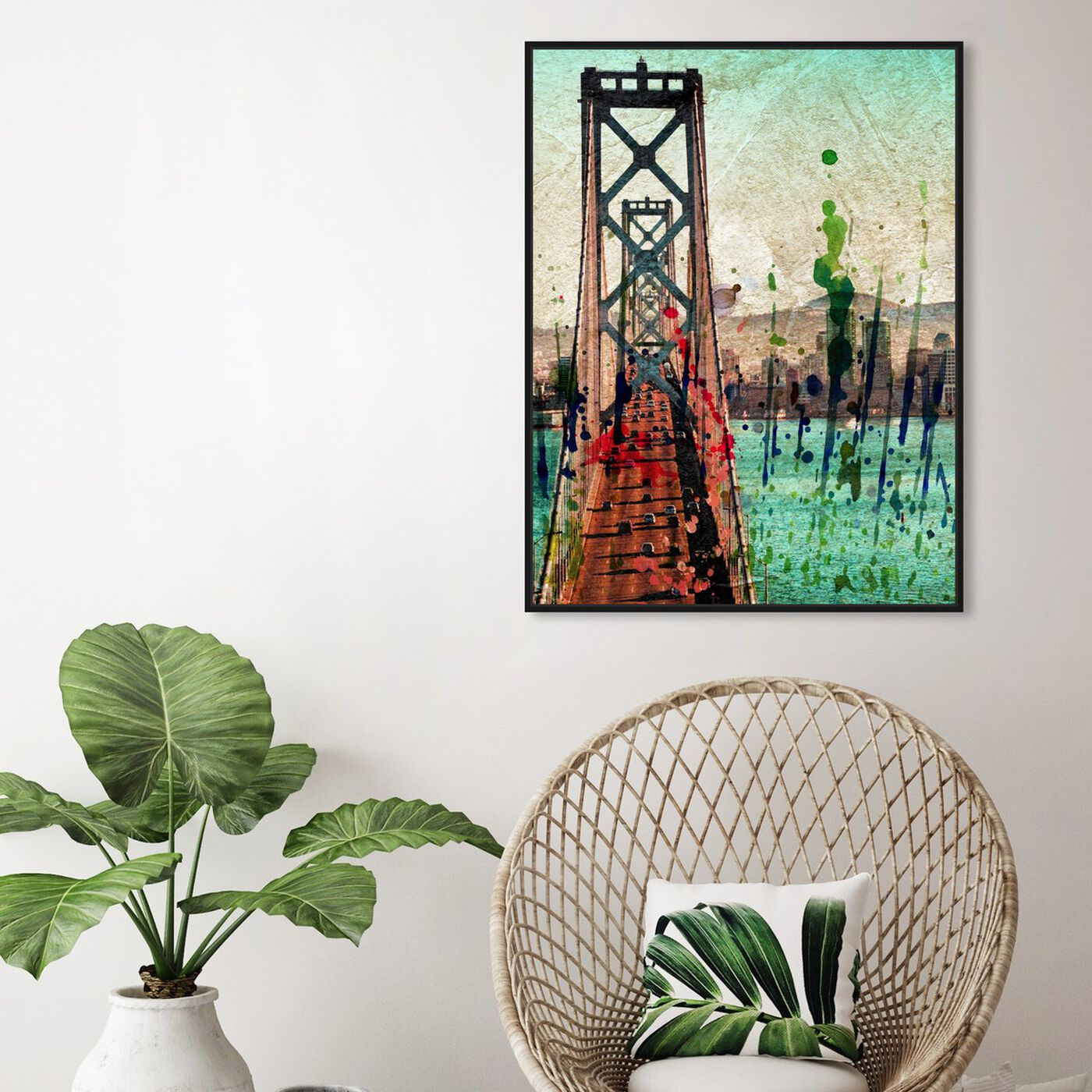 Hanging view of San Francisco Colors featuring architecture and buildings and famous bridges art.