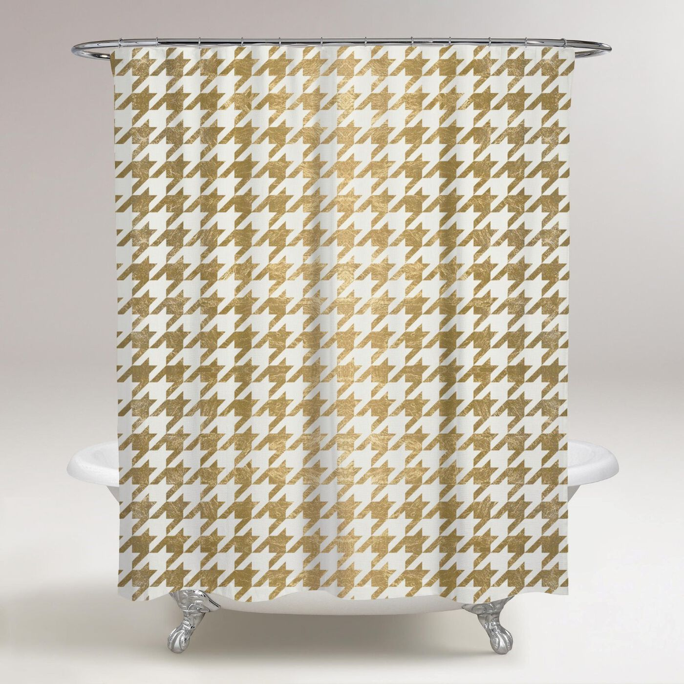 Golden Houndstooth Shower Curtain