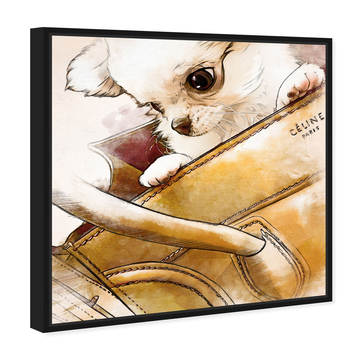 Angled view of Faithful companion Watercolor featuring fashion and glam and handbags art.