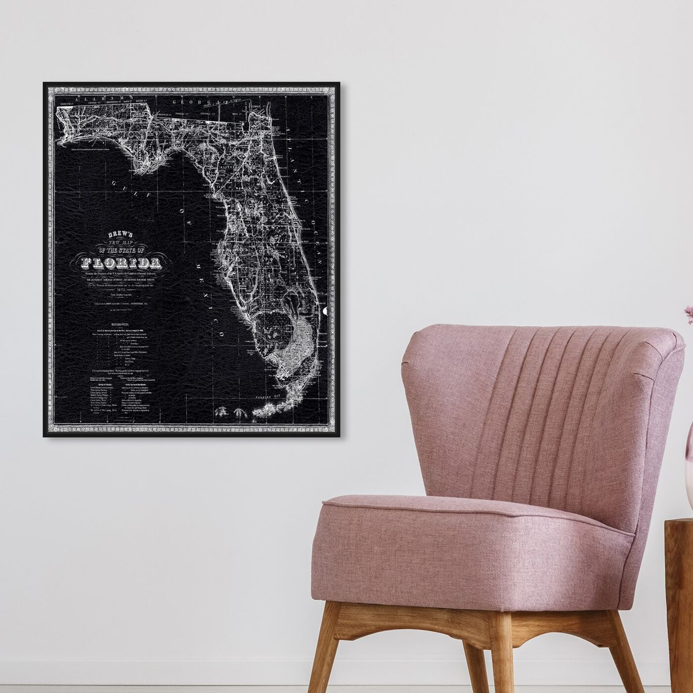 Hanging view of Florida Map 1870 featuring maps and flags and us states maps art.