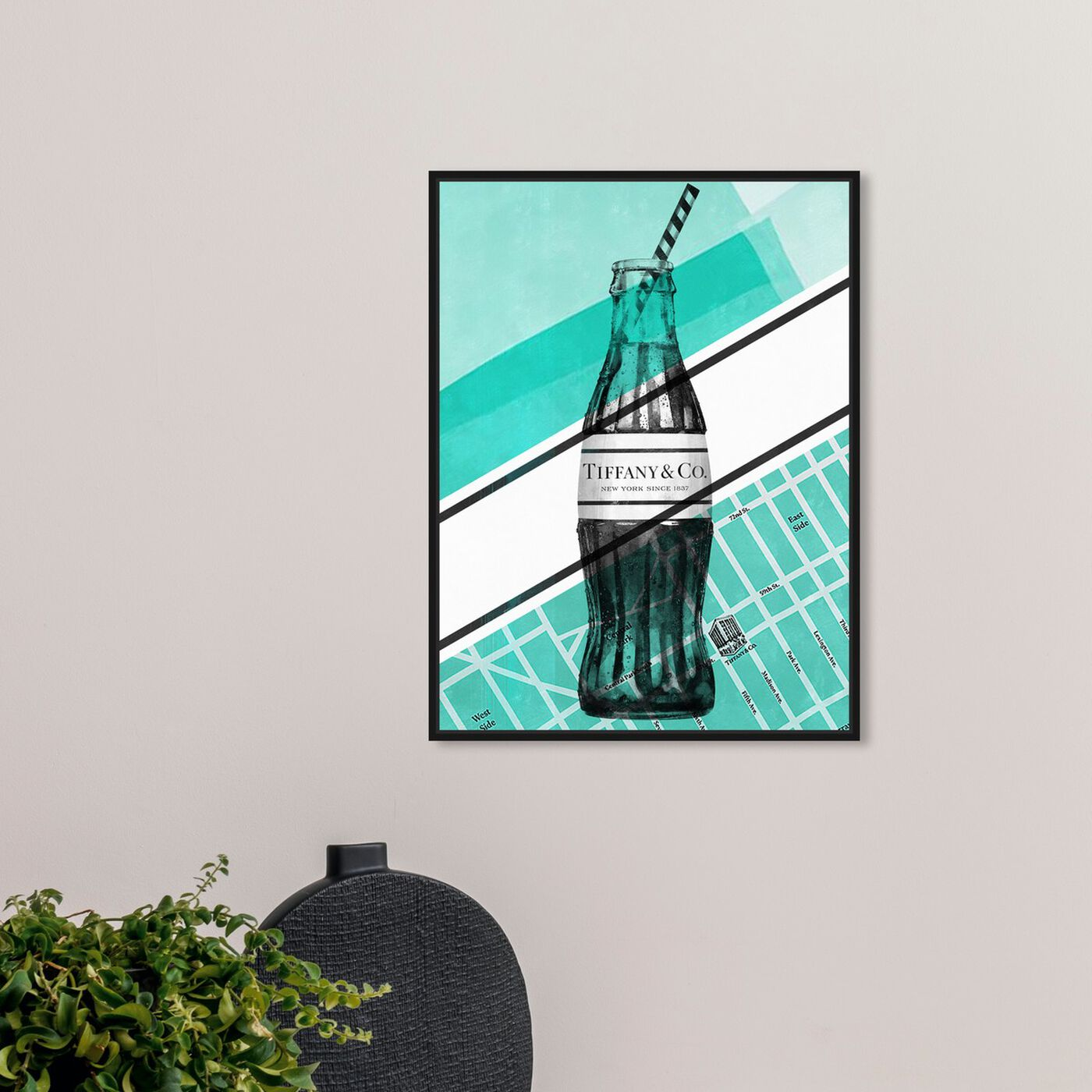 Hanging view of NYC Soda Bottle featuring drinks and spirits and soda art.