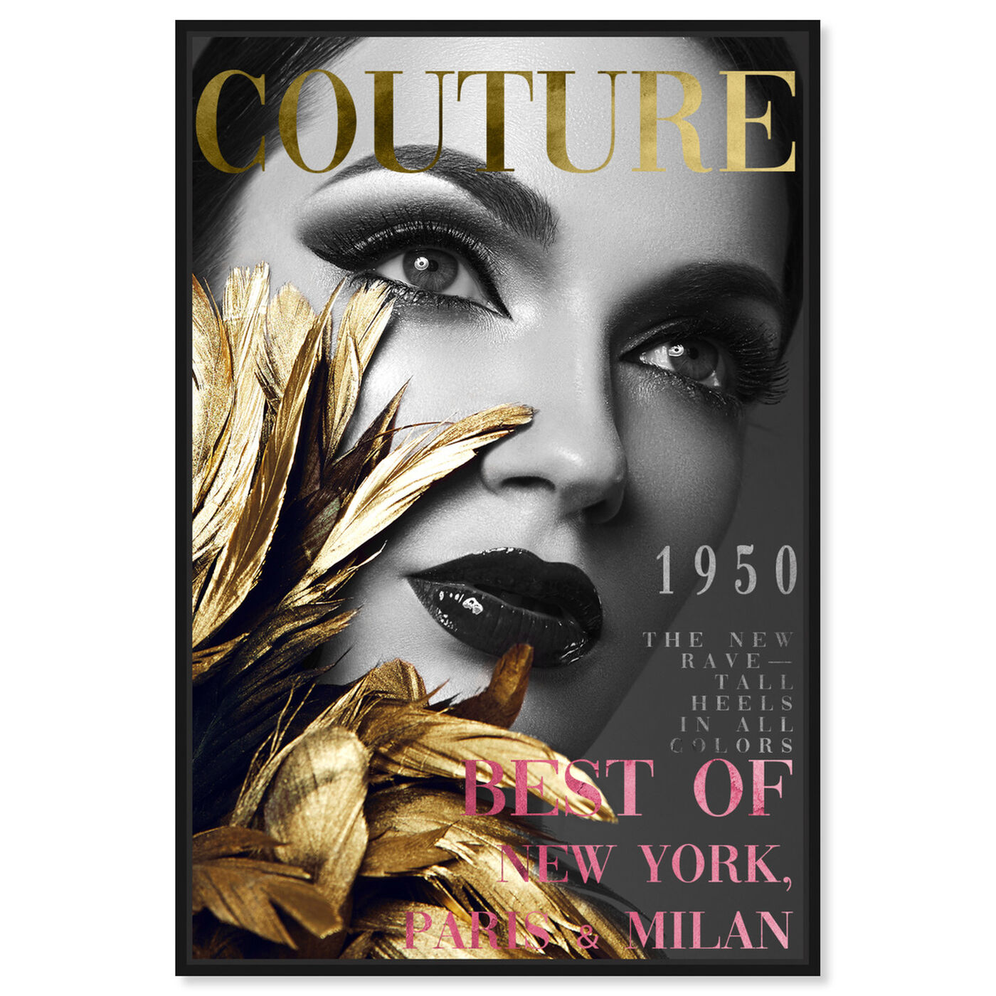 Front view of Cover Fashion Feathered Couture featuring fashion and glam and makeup art.