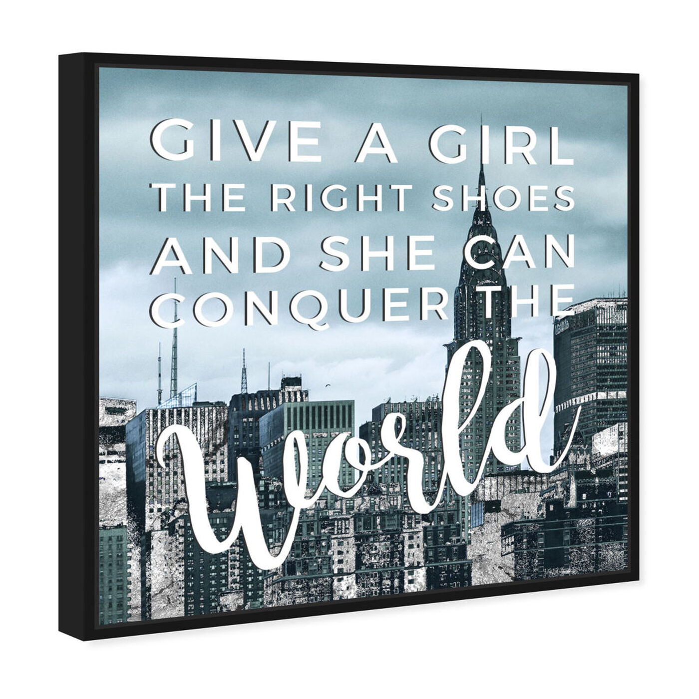 Angled view of Conquer featuring typography and quotes and empowered women quotes and sayings art.