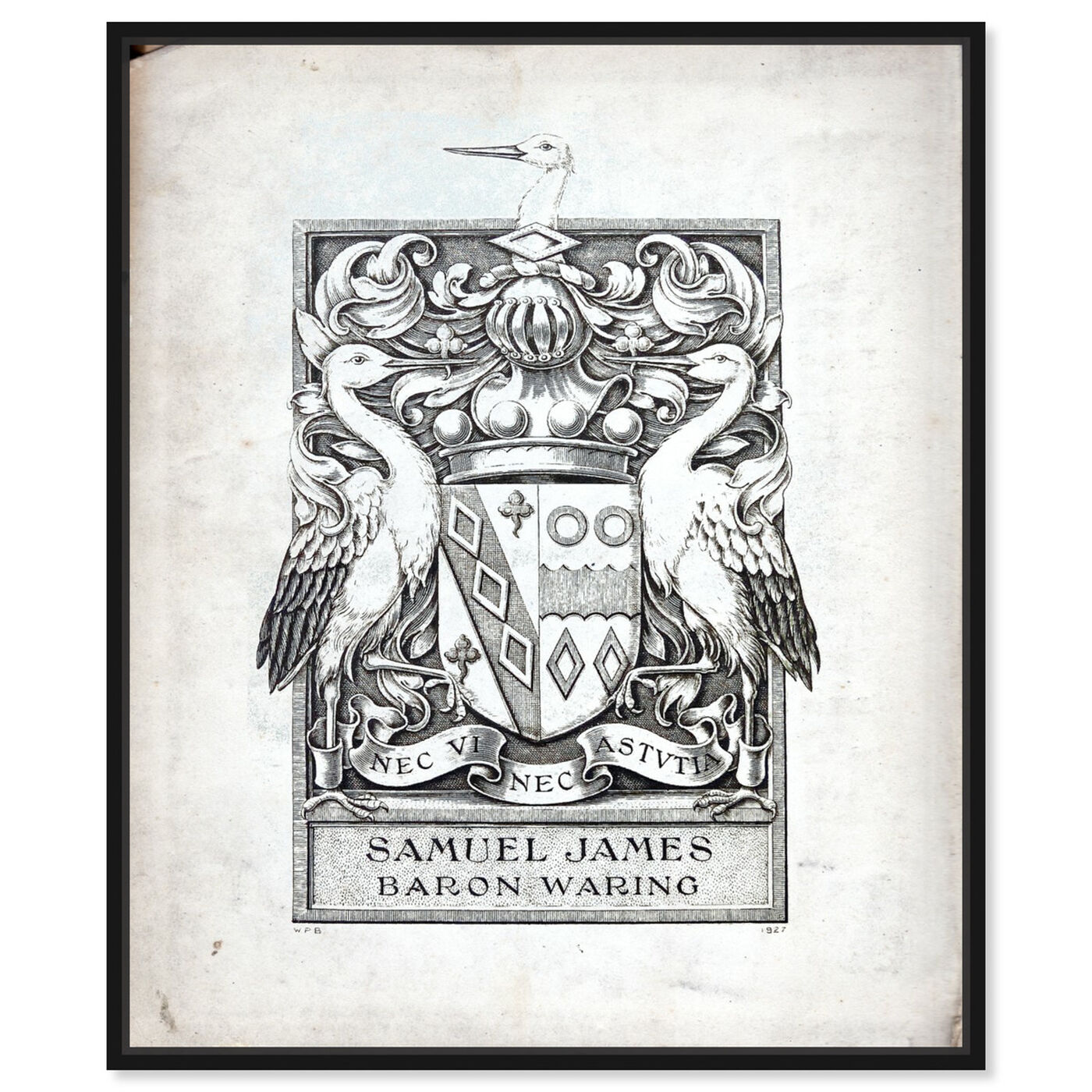 Front view of Armorial Engravings III featuring symbols and objects and calligraphy art.