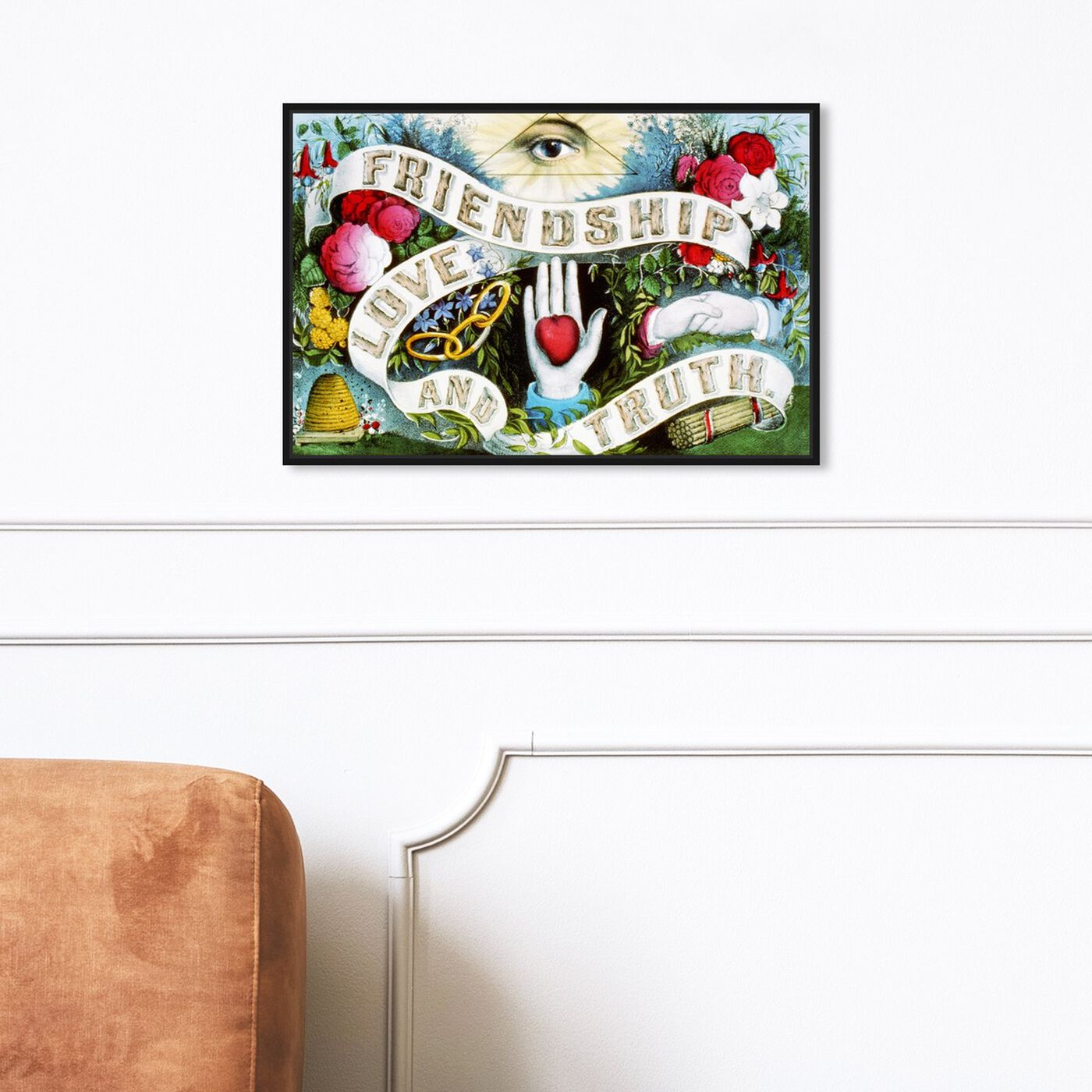 Hanging view of Friendship Love and Truth featuring symbols and objects and mystic symbols art.