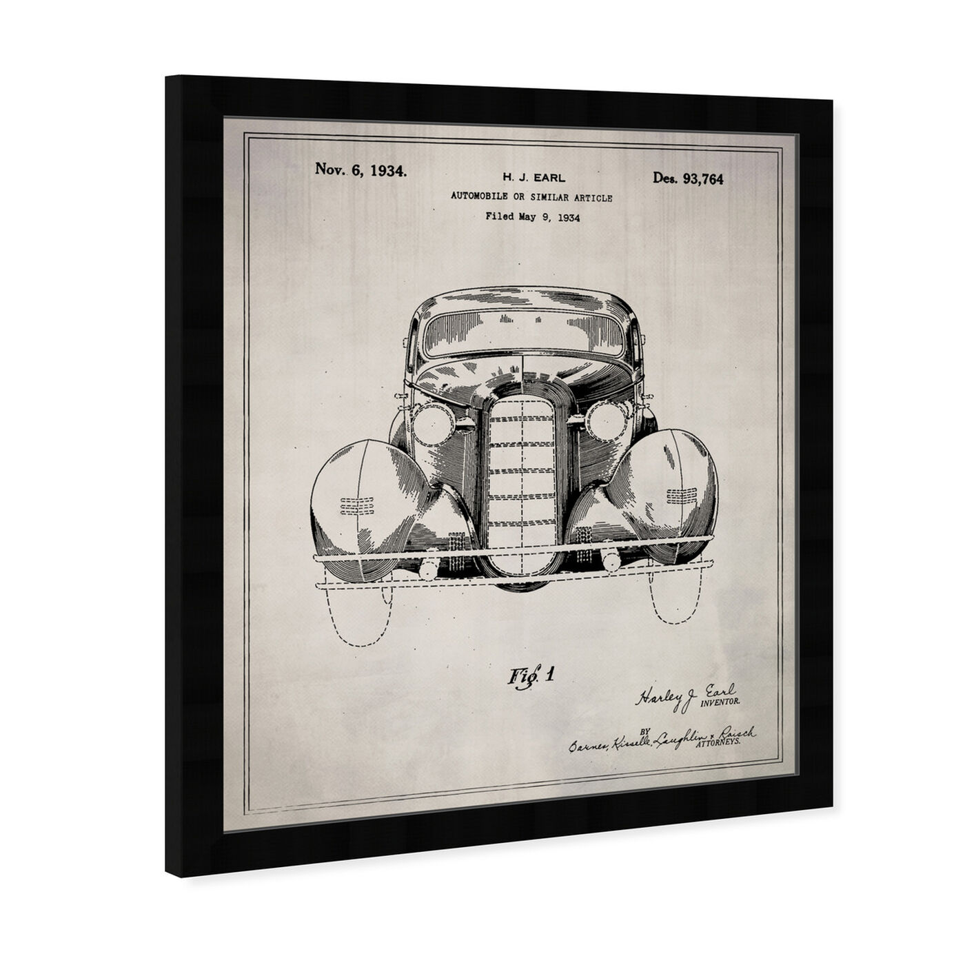 Angled view of Automobile II 1934 featuring transportation and automobiles art.