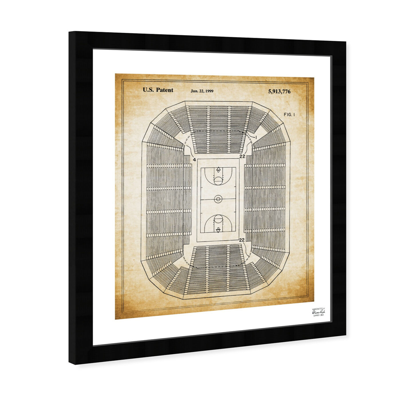Angled view of Basketball Court 1999 featuring sports and teams and basketball art.