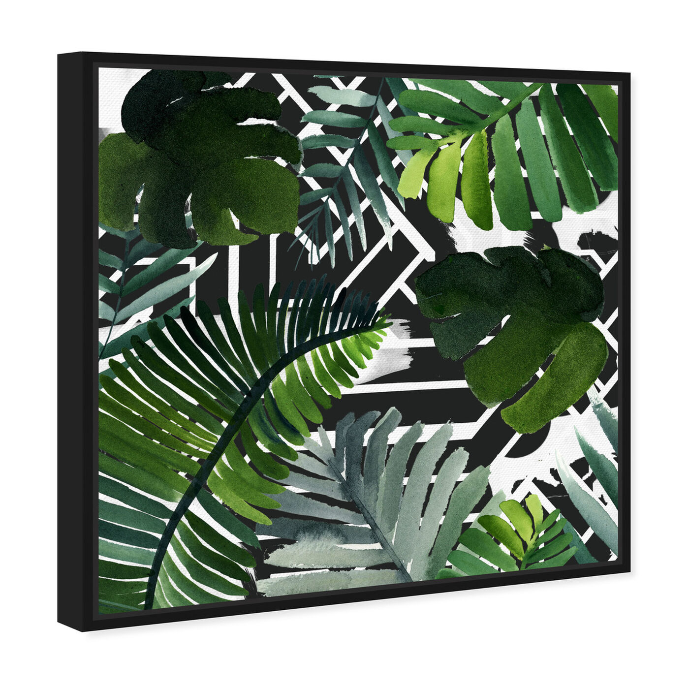 Angled view of Introspect Palm Leaves Black featuring floral and botanical and botanicals art.