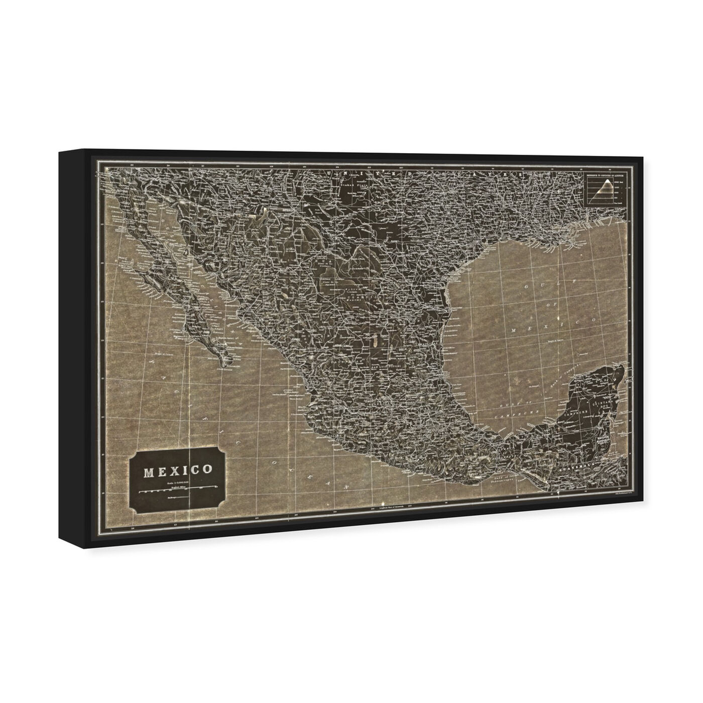 Angled view of Mexico 1919 Map featuring maps and flags and american countries maps art.