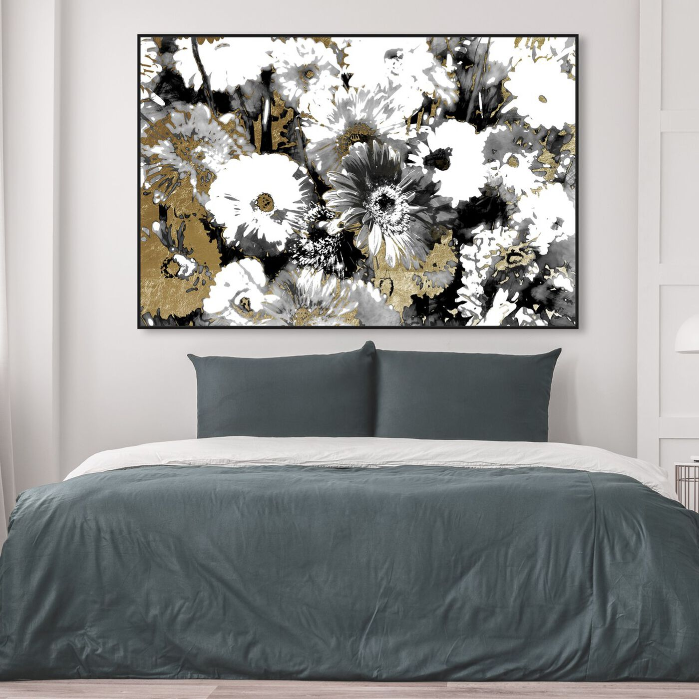 Hanging view of Golden Floral Adore featuring floral and botanical and gardens art.