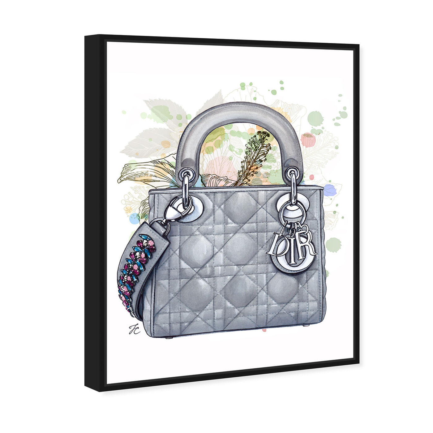 Angled view of Doll Memories - Grey Shade featuring fashion and glam and handbags art.